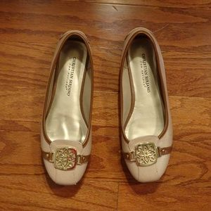 Christian Siriano Biege Buckled Flats Size 6 1/2 M